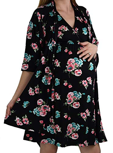 Embrace Your Bump 2 in 1 Super Soft Maternity & Nursing Nightgown & Robe Set (Black/Pink/Blue Floral, Small)