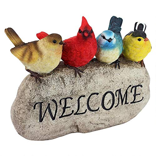 (Design Toscano QM21001 Birdy Welcome Garden Stone, Large, Full Color)