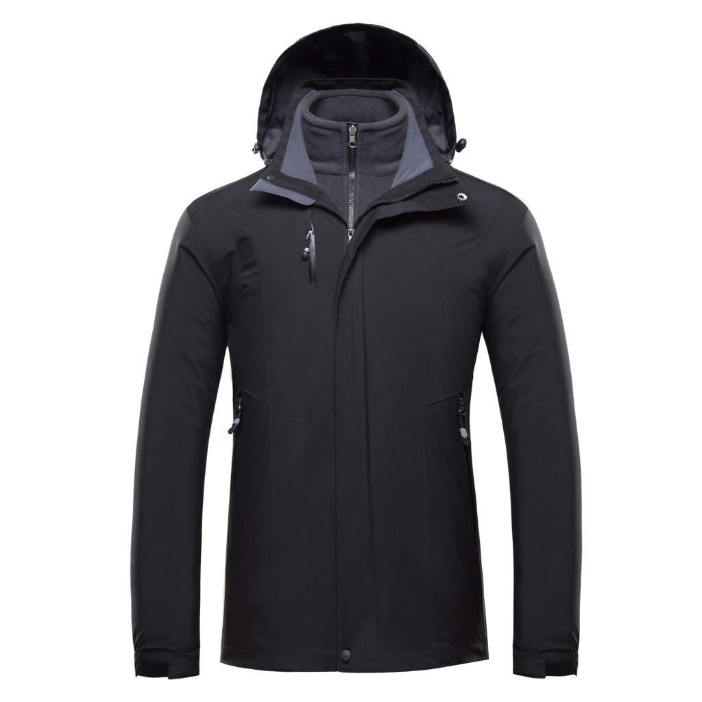 Fitfulvan Men's Plus Size Waterproof Hoodie Detachable Breathable Sport Outdoor Warm Coat Black