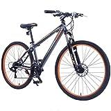 GTM 27.5'' Men's Mountain Bike Shimano Hybrid Bicycle ,Grey & Orange