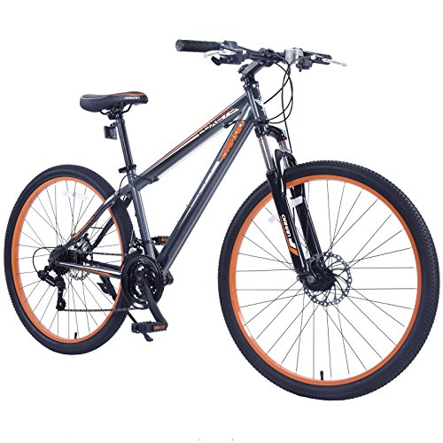 GTM 27.5'' Men's Mountain Bike Shimano Hybrid Bicycle ,Grey & Orange by GTM