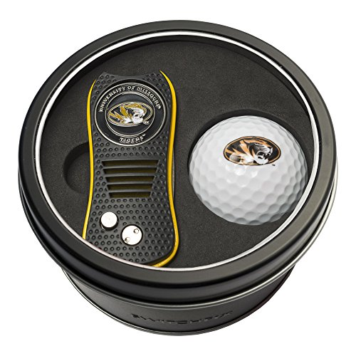 Team Golf NCAA Missouri Tigers Gift Set Switchfix Divot Tool with Double-Sided Magnetic Ball Marker & Golf Ball, Patented Single Prong Design, Less Damage to Greens, Switchblade Mechanism