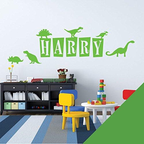 Wall Designer Nom personnalisé Art Mural Autocollant–Dinosaures, Dinosaures, T-Rex, Brontosaures–[Seulement Nous Envoyer Un Message avec Le nom.], Grass, Medium (580x150mm)