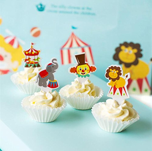 Baby Shower Circus Theme (100 Pcs Circus Cake Cupcake Decorative Cupcake Topper for Kids Birthday Party Themed Party Baby)
