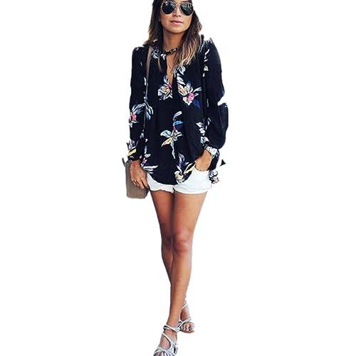 FEITONG Impresión floral para mujer Flojas de la gasa de la manga de la camiseta larga de la blusa d...