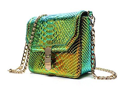 Snake Handbag - Remeehi Hologram Snake Skin Leather Shoulder Bag Crossbody Bag with Chain (Hologram Green)