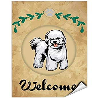 Elegant Welcome Bichon Frise Dog Vinyl Label Decal Sticker Vinyl Label 7 X 10  Inches: Amazon.com: Industrial U0026 Scientific