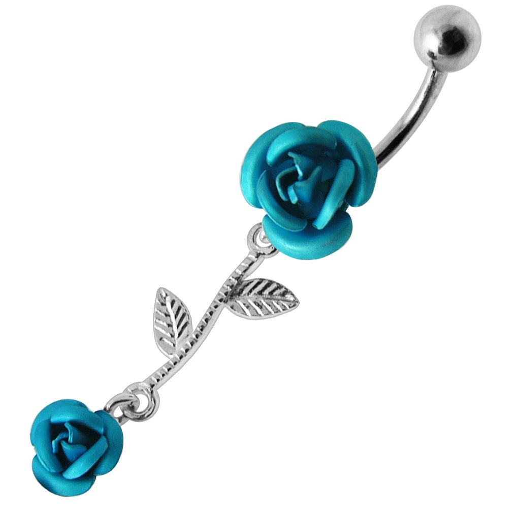 Light Blue Double Rose with Leaf Dangling Design 925 Sterling Silver Belly Button Piercing Ring Jewelry