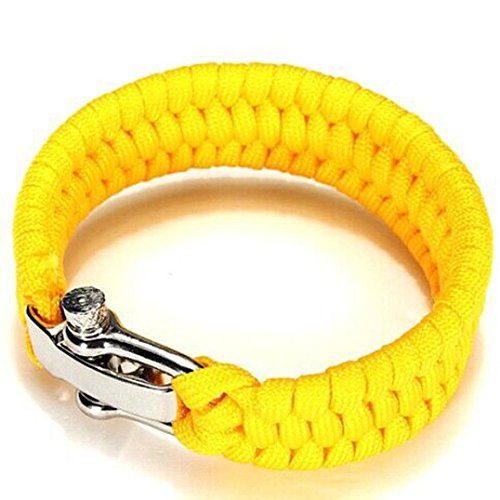Makalon Survival Rope Paracord Bracelet Outdoor Camping Hiking Steel Shackle Buckle New (Yellow)