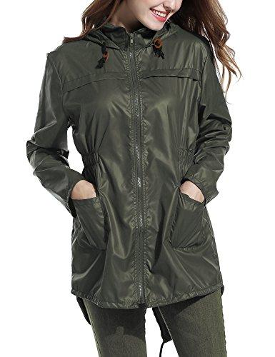Femme Points Imprimé A Imperméable Armeegrün Poisson Manteau Capuche De Queue Raincoat Pluie Mode Longue Jacket Cravog BY5wSxq4y