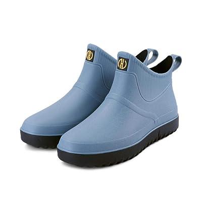 Jessie Men Rain Boots Outdoor Slip On Waterproof Non-Slip Rubber Ankle Boots Rain Booties (Light Blue, 8.5)   Rain