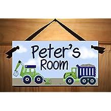 Blue and Green Construction Truck Boys Bedroom Baby Nursery DOOR SIGN Wall Art DS0246