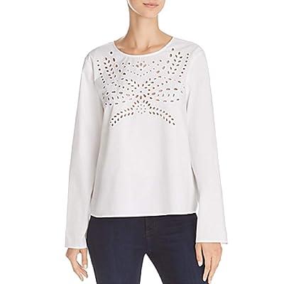 Aqua Womens Sylvan Cotton Eyelet Blouse White M at Amazon Women's Clothing store