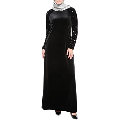 6c61fdb548a Muslim Women Islamic Beading Velvet Robe Plus Size Middle East Long Dress  (Black