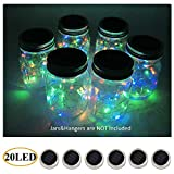 AlleTechPlus 6-Pack 20 LED Solar Powered Mason Jar Fairy Firefly Lights Lids Insert for Patio Yard Garden Party Wedding Christmas Decorative Lighting Fit for Regular Jar's Mouth (Multicolour)
