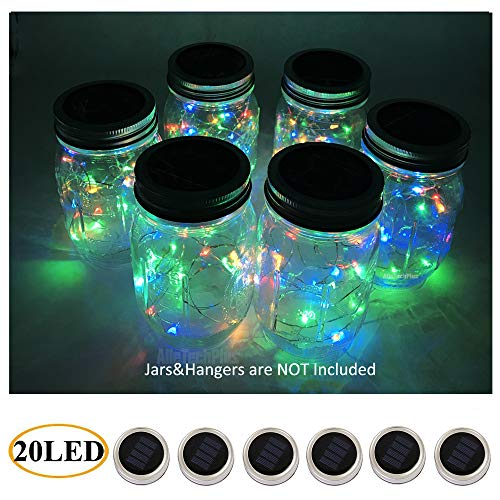 AlleTechPlus 6-Pack 20 LED Solar Powered Mason Jar Fairy Firefly Lights Lids Insert for Patio Yard Garden Party Wedding Christmas Decorative Lighting Fit for Regular Jars Mouth (Multicolour)