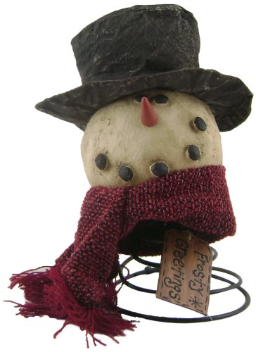 Craft Outlet Papier Mache Top Hat Snowman on Spring Figurine, 7-Inch