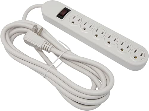 Otimo 6-Outlet Power Strip with 10 Foot Power Cord and LED On Power Strip Indicator, White