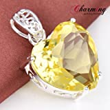 Unique Charming Heart Yellow Citrine Gems Silver Necklace Pendant For Xmas Gift