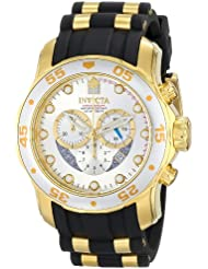 Invicta Mens 6985 Pro Diver Collection Chronograph Silver Dial Black Polyurethane Watch