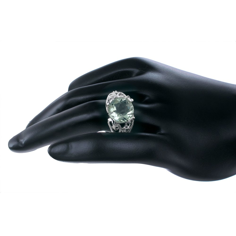 Sterling Silver Green Amethyst Ring 4 CT