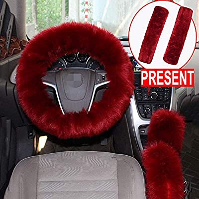 Forala 1 Set 5 Pcs Car Steering Wheel Cover & Handbrake Cover & Gear Shift Cover Set & Seat Belt Shoulder Pads Faux Wool Warm Winter (Wine Red) (Wine Red): Automotive