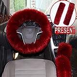 Alusbell 1 Set 5 Pcs Car Steering Wheel Cover & Handbrake Cover & Gear Shift Cover Set & Seat Belt Shoulder Pads Faux Wool Warm Winter (Wine Red)