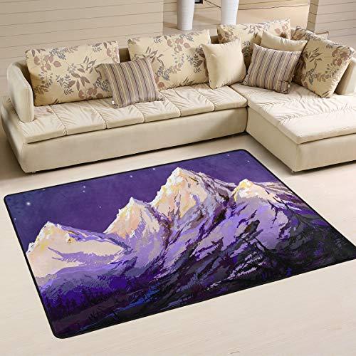 WIHVE Snow Mountain Stars Non Slip Area Rugs Living Room Carpet Bedroom Rug for Children Rug Floor Yoga Mat 48 x 72 inch(4