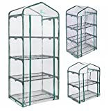 Palm Springs 2/3/4 -Tier Mini Greenhouse with Cover and Roll-up Zipper Door