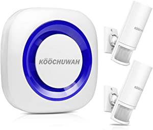KOOCHUWAH Wireless Home Security Driveway Alarm, Garage Store Entry Doorbell, 2 Motion Detectors + 1 Receiver, Wide Range, 52 Chimes, 4 Volume Levels, LED Flash