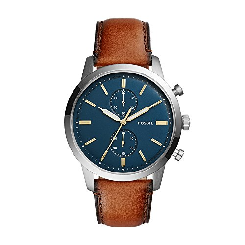 Fossil Men's Townsman Quartz Stainless Steel and Leather Chronograph Watch, Color: Brown; Dial color - blue-Tone (Model: FS5279) ()