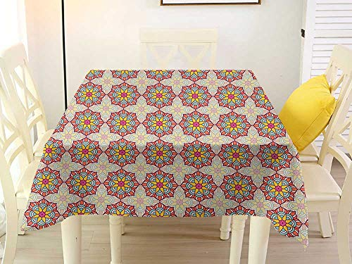 Square Tablecloth for Patio Table Clamps Ethnic Mosaic Pattern of Ornamental Blossoms in Lively Colors Folkloric Ottoman Art Tile Multicolor Stain 70 x 70 Inch