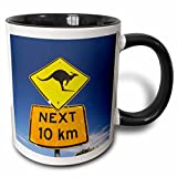 "3dRose mug_75139_4""Australia, Newcastle, Kangaroo Sign, Broadwater NP-AU01 DWA3414 - David Wall"" Two Tone Black Mug, 11 oz, Multicolor"