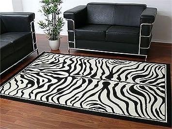 Trendline teppich modern schwarz weiss zebra in 4 größen: amazon.de