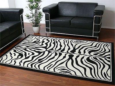Teppich Modern Trendline Schwarz Weiss Zebra in 4 Größen