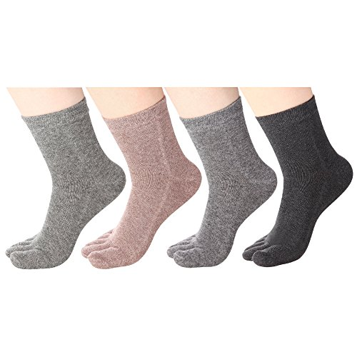 (Women's Toe socks Cotton Crew Five Finger Socks For Running Athletic 4 Pack By Meaiguo (ABW2))
