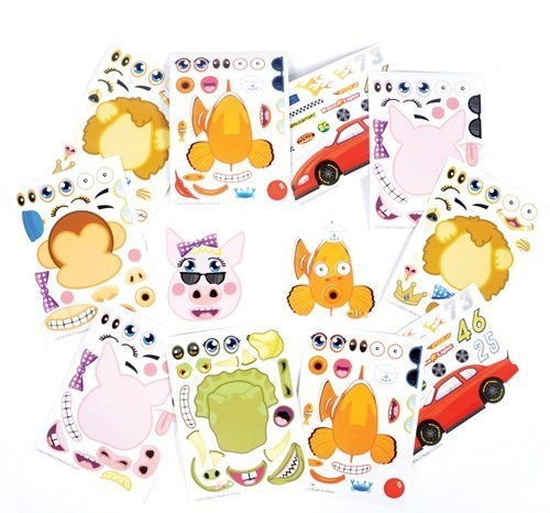 ~ 96 ~ Assorted Make-an- Animal / Race Car / Tooth Sticker Sheets ~ New