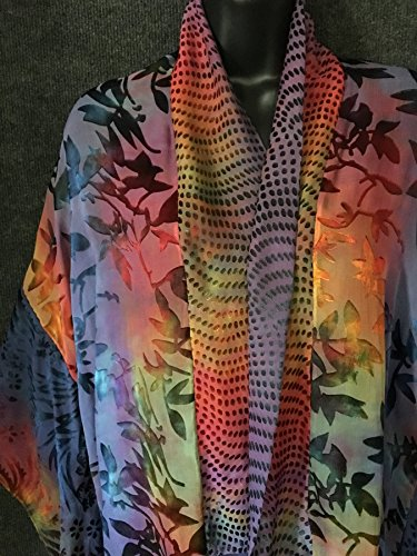 Hand Dyed Kimono Scarf Jacket in Multicolors by Sherry Bingaman