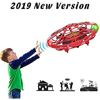 UFO Flying Ball Toys, Mini Quadcopter with 360° Rotating and Shinning LED Lights,Mini Drone Helicopter, Hand Operated Drones for Boys or Girls (Red)