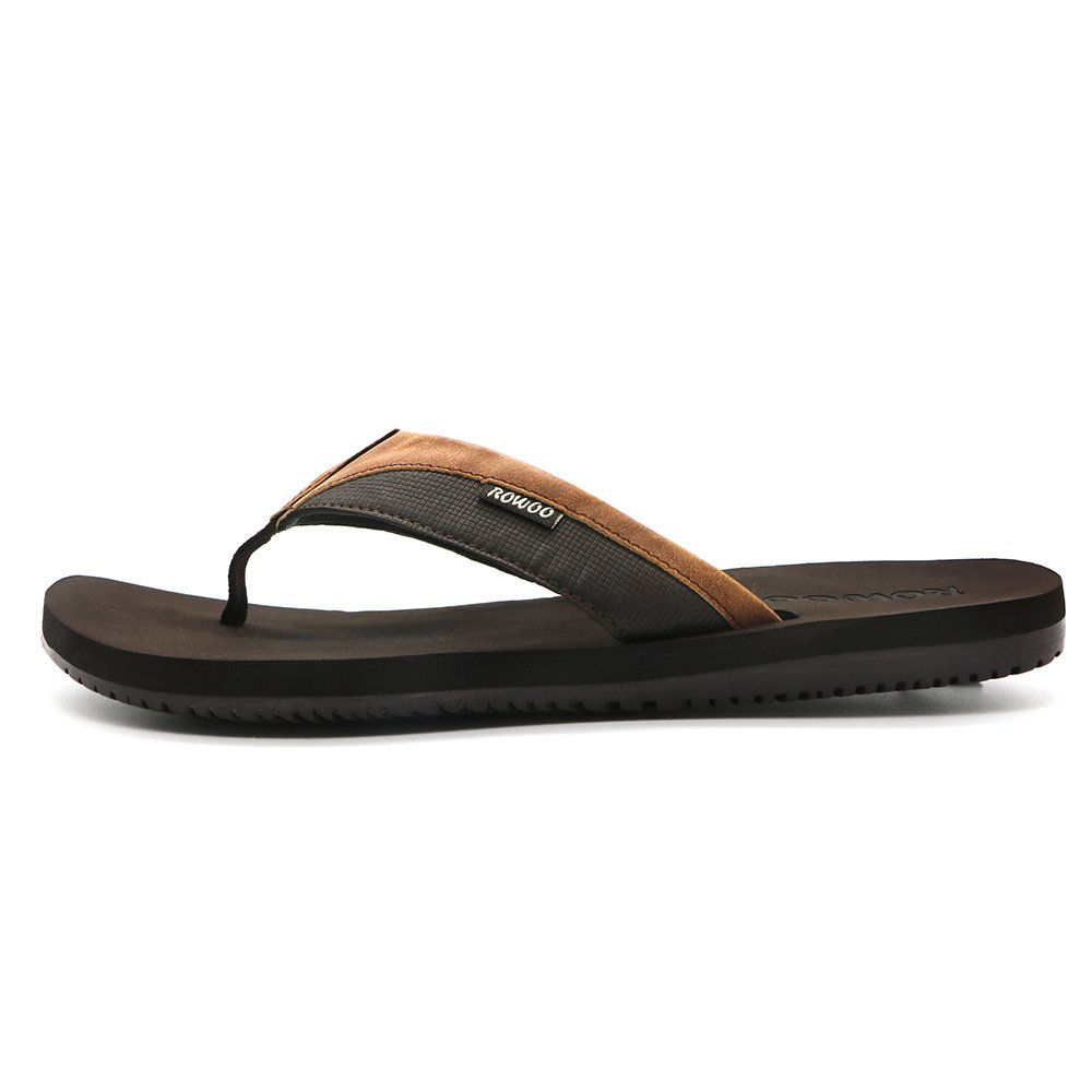 HUMMOO Men's Classic Summer Flip Flops - Thong Athelic Sandals (42 EU/ 9 US, Brown) by HUMMOO (Image #2)