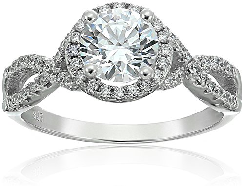 Twisted Shank Ring (Amazon Collection Cubic Zirconia Split Shank Round Frame in Sterling Silver Engagement Ring, Size 6)