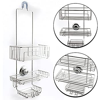 Gecko Loc Over The Shower Head Tall Shower Caddy Organizer With Super  Suction Cup U0026