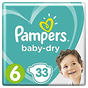 Pampers Baby-Dry Nappies, Size 6 Junior (13-18kg), 33 Nappies, Up to 12 hours of overnight dryness