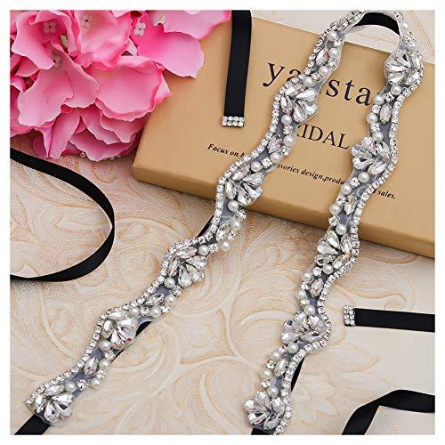 Yanstar Black Bridal Belt Sashes Hand Silver Crystal Rhinestone Pearls Wedding Belt Sash For Bridal Gowns Bridesmaid Dress
