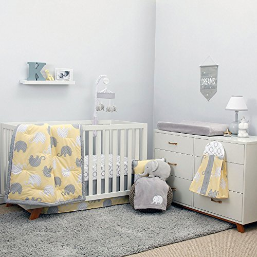 NoJo The Dreamer Collection Elephant Yellow and Grey 9 Piece Crib Bedding...