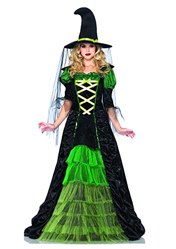 Leg Avenue Women's 2 Piece Storybook Witch Costume, Black/Green, Medium/Large (Woman Witch Halloween Costumes)