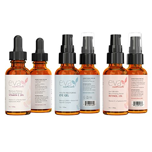 Eva Naturals Facelift in a Bottle - 3-in-1 Anti-Aging Set with Retinol Serum, Vitamin C Serum and Eye Gel - Formulated to Reduce Wrinkles, Fade Dark Spots and Treat Under-Eye Bags - Premium Quality by Eva Naturals (Image #2)