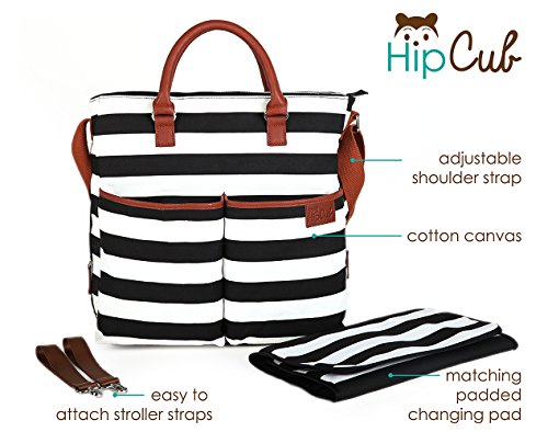 237c225e51c7f Amazon.com : Diaper Bag by Hip Cub - Baby Changing Pad - Black/White Stripe  W/Cute Tan Trim : Baby