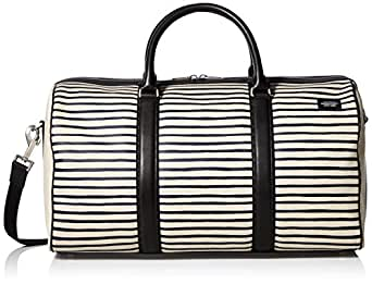 Jack Spade Men's Industrial Canvas Striped Duffle, Natural/Navy