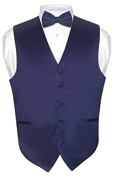 reliable quality yet not vulgar price reduced Men's Dress Vest & Bowtie Solid Navy Blue Color Bow Tie Set for Suit or  Tuxedo